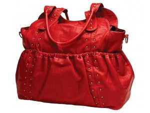 oi oi red tote studded