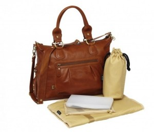 OiOi Tan Leather Slouch Tote Nappy Bag