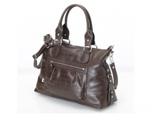 OiOi Chocolate Iguana Leather Slouch Tote