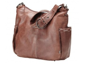 OiOi Chocolate Soft Touch Leather with decorative stitch Hobo Nappy Bag