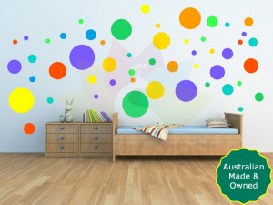 Bright dot wall decals