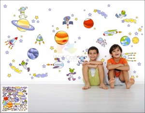 Space room theme wall decals