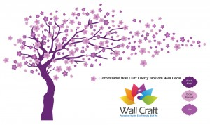 Wall Craft Cherry Blossom Wall Sticker In Purple Magic, Orchid Bouquet and Lilac