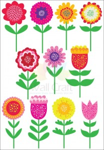 Wall Craft bright flower wall decals, add colour and life to any space.
