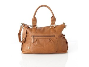 OiOi Leather tan slouch tote baby nappy bag.