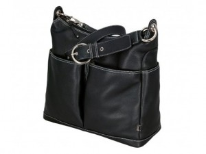 OiOi Black Leather Hobo Nappy Bag