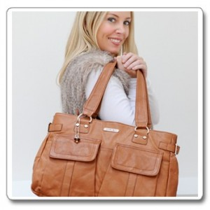 Vanchi Sydney leather Nappy bag in Tan