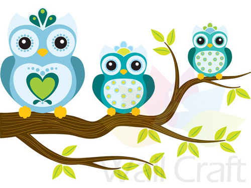 Wall Craft Blue Owls